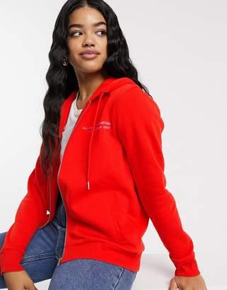 JDY Louise long sleeve zip up hoodie-Red