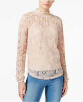 Bar III Mock-Neck Lace Top, Only at Macy's