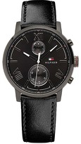Tommy Hilfiger Silver Dress Watch With Leather Strap