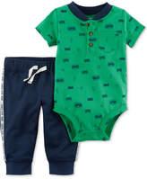 Carter's 2-Pc. Cotton Cute-Print Henley Bodysuit & Jogger Pants Set, Baby Boys