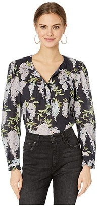 La Vie Rebecca Taylor Long Sleeve Wisteria Top (Midnight Navy Combo) Women's Clothing
