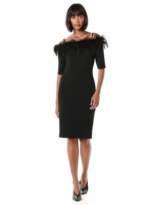 Calvin Klein Women's Solid Sheath with Feather Trim Neckline