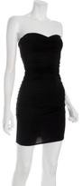 black stretch knit shirred tube dress