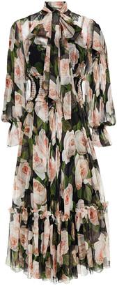 Dolce & Gabbana Pussy-bow Floral-print Silk-voile Midi Dress