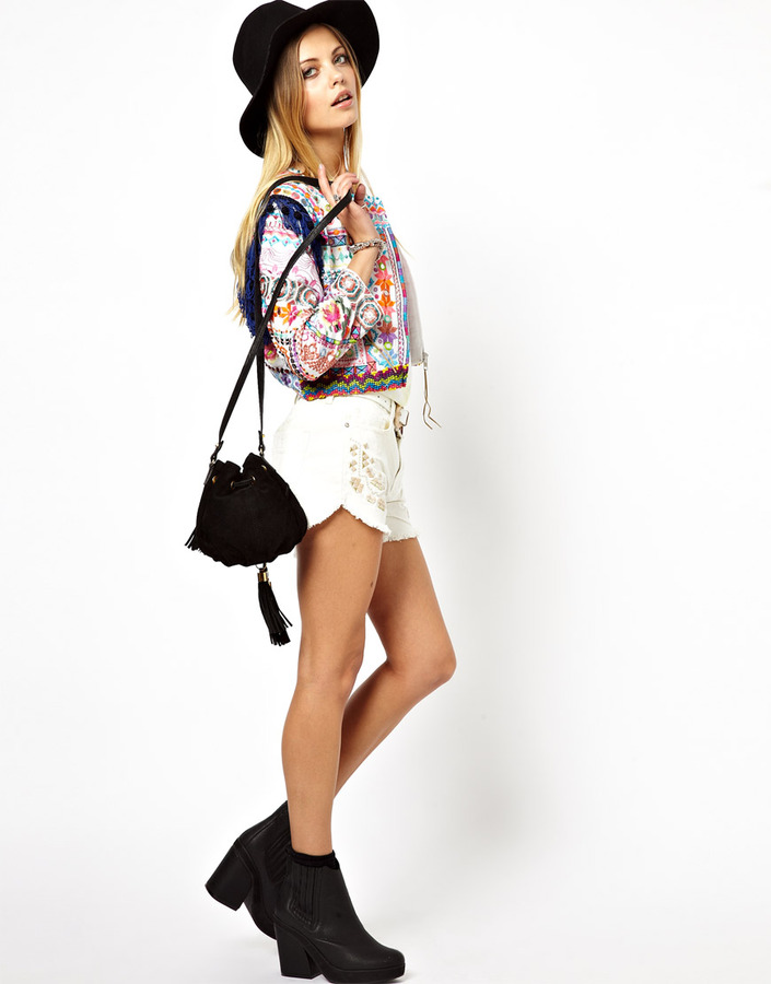 Asos Premium Biker Jacket With Allover Embroidery And Mirror Applique