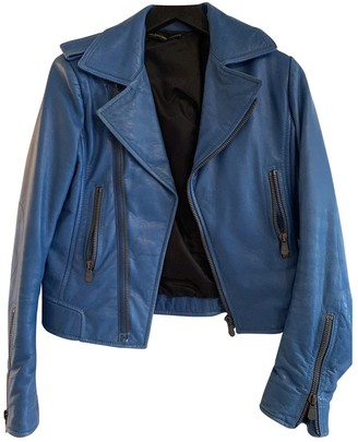 Balenciaga Blue Leather Leather Jacket for Women