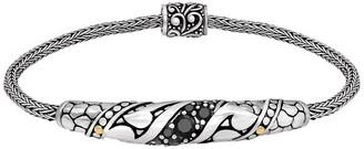 Devata Sterling Silver Bali Filigree Black Spinel Woven Dragon Bone Chain Bracelet