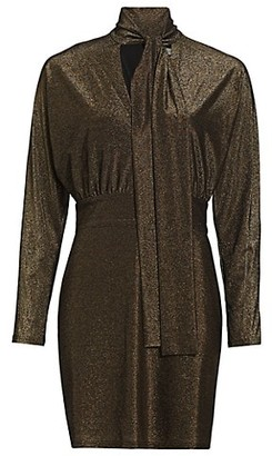 Halston Calista Metallic Tie-Neck Dress