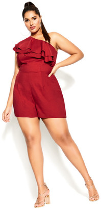 City Chic One Shoulder Playsuit - red