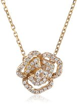 As 29 AS29 Women's 18ct Pink Gold Round White Diamonds and Round Clear Sapphire XS Pave Flower with Line Necklace of 40cm