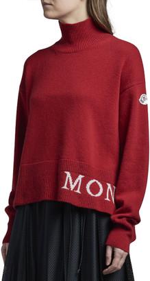 Moncler Mock Neck Logo Hem Sweater