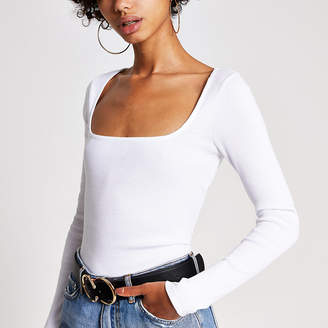 River Island White ribbed square neck top
