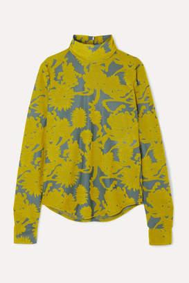 Jil Sander Floral Stretch-jacquard Turtleneck Top - Yellow