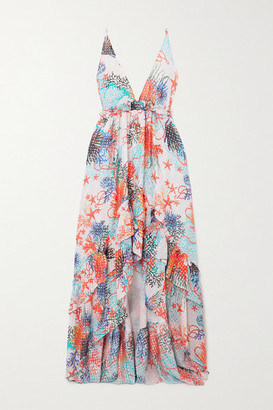 Dundas Open-back Ruffled Printed Fil Coupe Silk-blend Georgette Dress - White