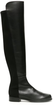 Stuart Weitzman 5050 LEATHER AND STRETCH BOOTS 38 Black Leather