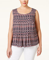Nine West Plus Size Printed Pleated Shell