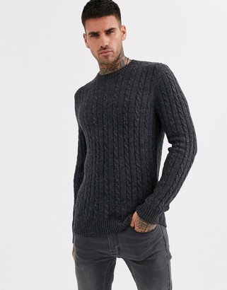 Asos Design DESIGN lambswool cable knit sweater in charcoal