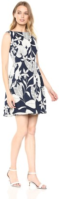 Taylor Dresses Women's Sleeveless fit and Flare Leaf Print Dress