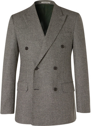 Husbands Grey Slim-Fit Double-Breasted Houndstooth Wool Blazer