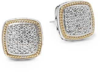Effy Diamond in 18K Gold Sterling Silver Square Earrings