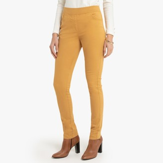 """Anne Weyburn Straight Cut Cotton Trousers with Elasticated Waist, Length 30.5"""""""
