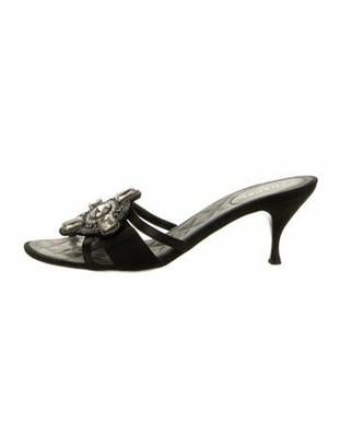 Chanel Crystal Embellishments Slides Black