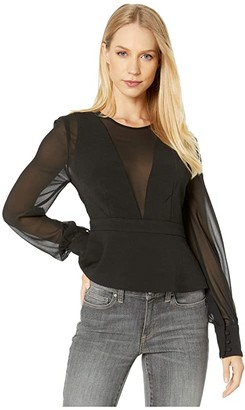 BCBGMAXAZRIA Long Sleeve Chiffon and Ponte Top (Black) Women's Blouse
