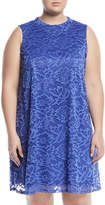 Neiman Marcus Mock Neck Floral-Lace Dress, Plus Size