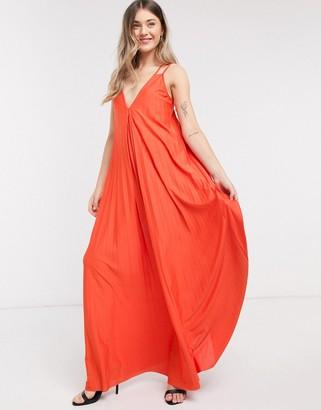 ASOS DESIGN double strap trapeze pleat maxi dress in orange