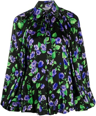 Balenciaga Floral Jacquard Bell Sleeve Blouse