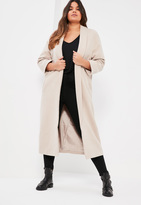 Missguided Plus Size Grey Shawl Collar Faux Wool Coat