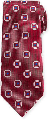 Canali Circular Diamond Silk Tie, Red