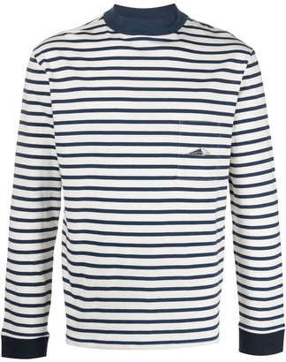 Anglozine Patch-Pocket Striped Long-Sleeved Top