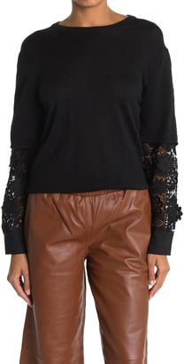 French Connection Ramona Knit Sweater With Embroidered Floral Sleeves
