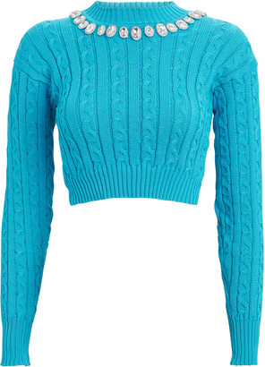 Giuseppe di Morabito Crystal-Embellished Cropped Cable Sweater
