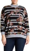 Bobeau Stripe Floral Sweatshirt (Plus Size)