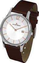 Jacques Lemans Men's Classic London 38mm Brown Leather Band Steel Case Quartz White Dial Watch 1-1850F