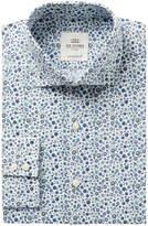 Ben Sherman Men's Slim-Fit Blue & Green Floral Print Dress Shirt
