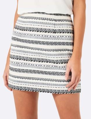 Forever New Janie jaquard split mini skirt - Cream Black - 10