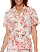 Alfred Dunner Picture Perfect Short-Sleeve Paisley Print Blouse