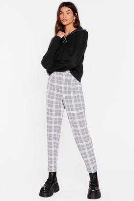 Nasty Gal Womens Check Me Out High-Waisted Tapered Pants - Grey