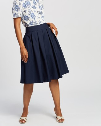 Review Women's Navy Pleated skirts - Bonita Skirt - Size One Size, 6 at The Iconic