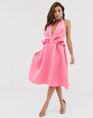 Asos Design DESIGN halter ruffle waist midi skater dress-Pink
