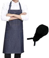 MEI SANG Denim Jean Apron , Adjustable Chef Kitchen with Pockets for Men and Women Send a hat ,Royal Blue (1)