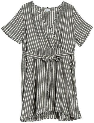 Susina Novelty Short Linen Blend Wrap Dress (Plus Size)