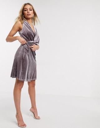 Lioness bel air velvet mini dress in dusty lavender