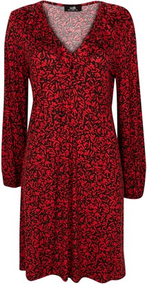 Wallis PETITE Red Leaf Print Frill Neck Dress