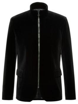 HUGO Regular-fit jacket in cotton velvet with front zip
