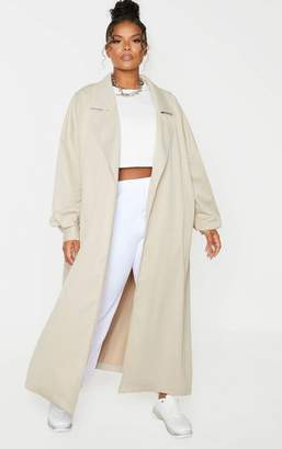 PrettyLittleThing Anil Plus Stone Contrast Panel Trench Coat