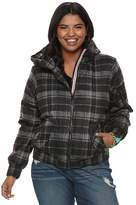 Urban Republic Juniors' Plus Size Hooded Puffer Bomber Jacket